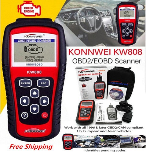 Free Shipping KW808 Car Diagnostic Tool Autel OBD Scan Tool OBD2 Scanner Code Reader Scanner