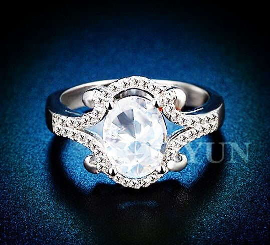 Estate Silver Plated Princess, Brilliant Cut Ring 2 Cts