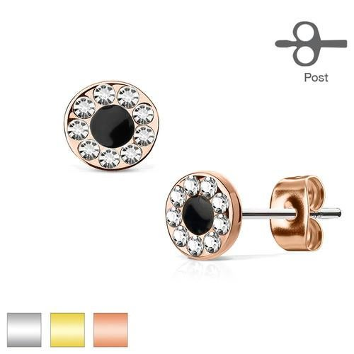 Pair of Channel Set CZ Round with Black Center 316L Surgical Steel Post Earring Studs