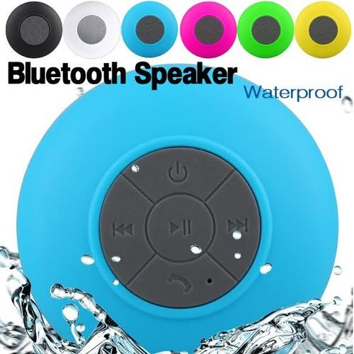 Blue Water Resistant Bluetooth Speaker Wireless Call Mic for Shower/ Car, iPhone, Smartphone, Tablet, MP3
