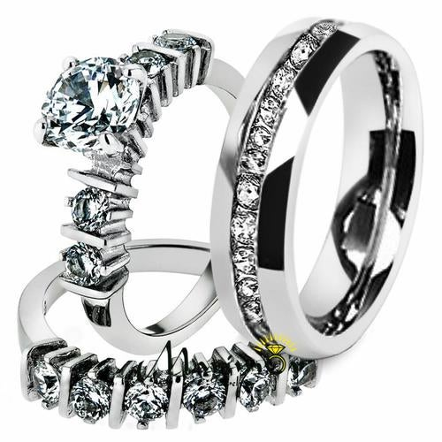 His & Hers Stainless Steel 2.38 Ct Cz Bridal Set & Men's Eternity Wedding Band