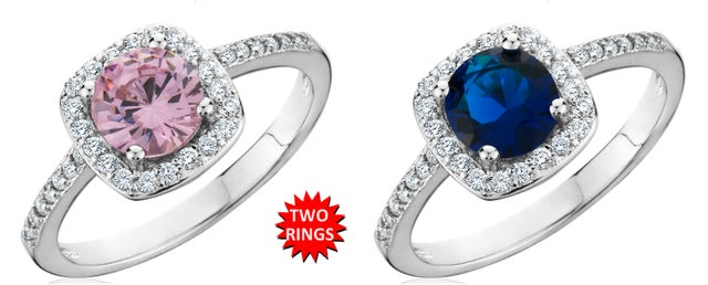 2 Pieces: 3.00 Carat Pink & Blue Birthstone Rings In 18K White Gold Over Brass