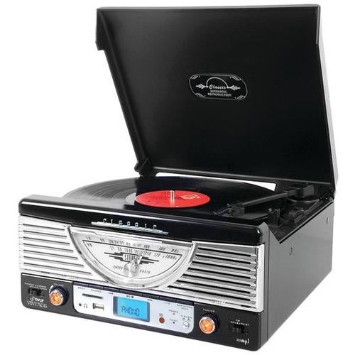 Pyle Home Ptr8ubtbk Bluetooth(r) Retro Vintage Classic Style Turntable Vinyl Record Player With Usb/mp3 Computer Recordi