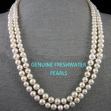 Genuine Freshwater White Pearl Endless Long Necklace