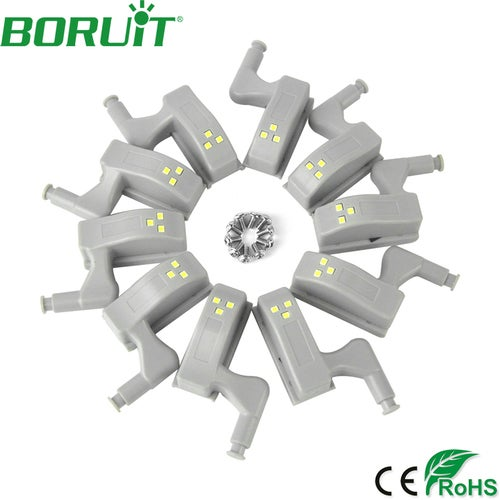 Boruit 10pcs /Lot Home Universal Cabinet Cupboard Hinge Cold White LED Light Wardrobe System Modern Home Kitchen Lamp