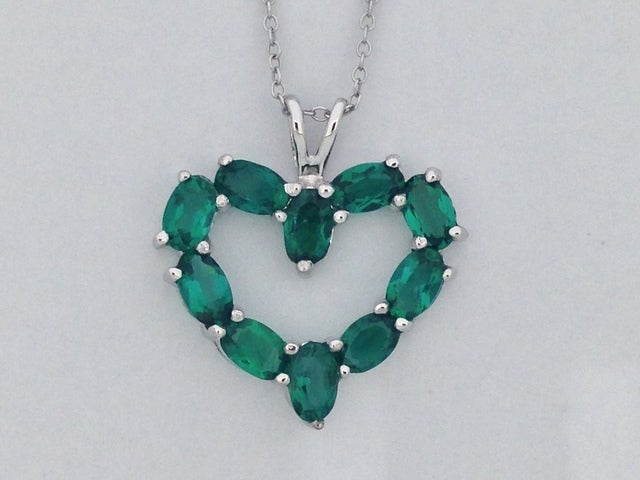 Created Green Stone Open Heart Necklace 925 Sterling Silver