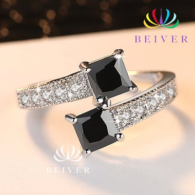 Luxury 2.0 CTTW Black CZ and 1.0 CTTW clear CZ Ring