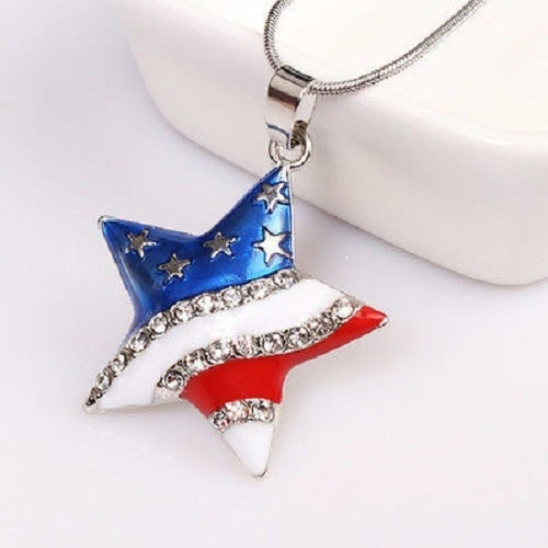NK16 - Patriotic Red White Blue American Star Pendant Necklace