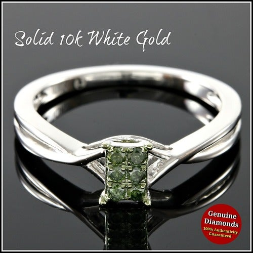 Solid 10k White Gold, 0.12ctw Genuine Green Diamonds Engagement Ring #glamgold4330