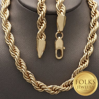 Gold Filled 5mm, Men or Women Rope Chain Necklace (FJ372901)