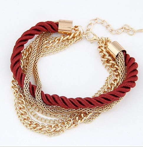 18kt Gold Plated Rope Chain Multi Strand Fashion Style Bracelet
