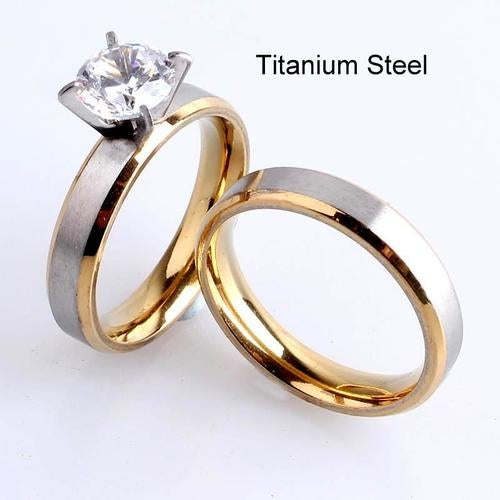 4mm Titanium Steel Cubic Zirconia Two Tone Engagement and Wedding Bands Rings