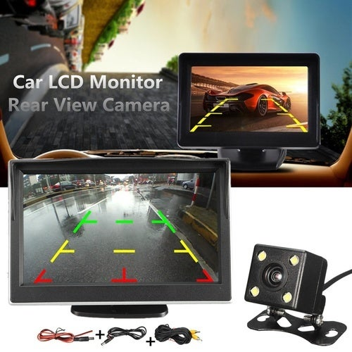 Car CCD Rear View Camera Reverse Waterproof 4 LED Night Vision Camera With 3 Glass Lens For Auto Parking Monitor