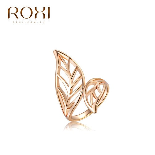 Rose gold double leaf ring