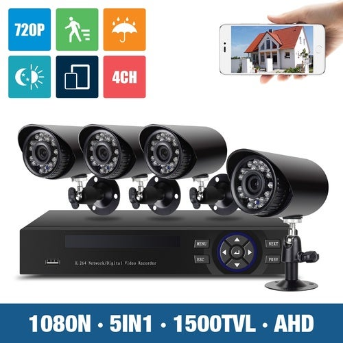 720P HD Home Security Camera System H.View 4CH Video Surveillance DVR Kit 1.0MP 1500TVL Outdoor CCTV Camera Support Smartphone Remote View