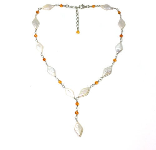 Genuine Diamond Shape Freshwater Pearl & Carnelian Necklace