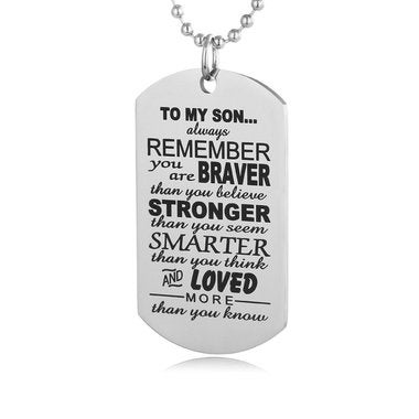 Always Remember To My Son Dog Tag From Dad Mens Boys Necklace Military Chain Air