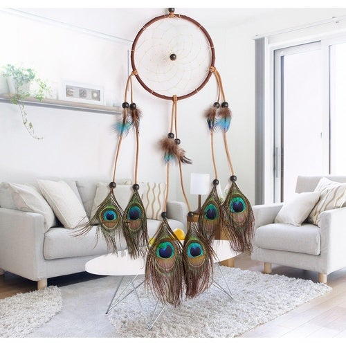 Women Handmade Peacock Feather and Beads Decorated Wall Hanging Wind Chime Dream Catcher