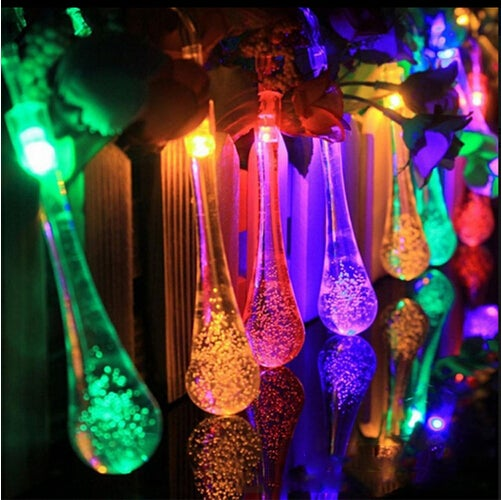 Great Gift for Christmas Super Beautiful Waterproof 4.8M 20 LED Water Drop Solar String Lights for Garden, Patio, Yard, Home, Parties,Christmas Tree