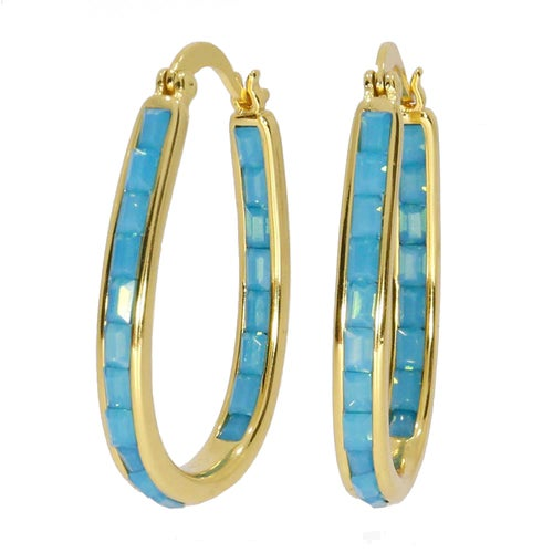 Stunning 18Kt Gold Plated Turquoise Crystal Inside Outside Hoop