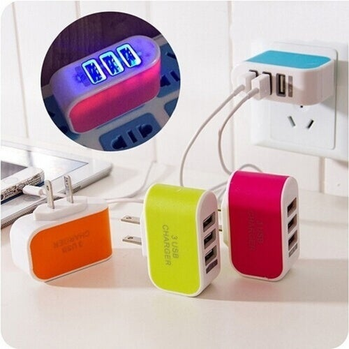 New Universal 3 USB Ports Home Travel Wall AC Power Charger Adapters US Plug
