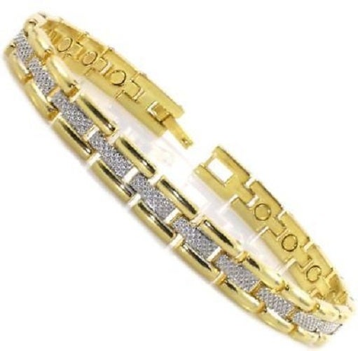 Ladies 2-Tone Gold Plated Magnetic Therapy Bracelet