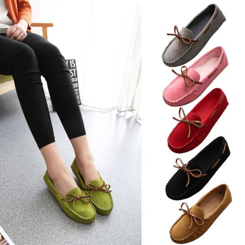 Fashion Women Casual Suede Shoes Square Toe Flats Bowknot Comfortable Slip On