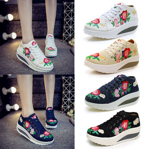 New Women Floral Trainer Lace Up Sneakers Ladies Fashion Casual Sport Shoes Size