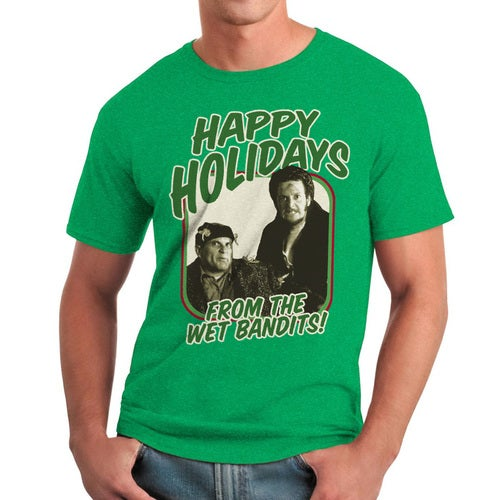 Home Alone Happy Holidays Wet Bandits Men's Heather Irish Green T-shirt
