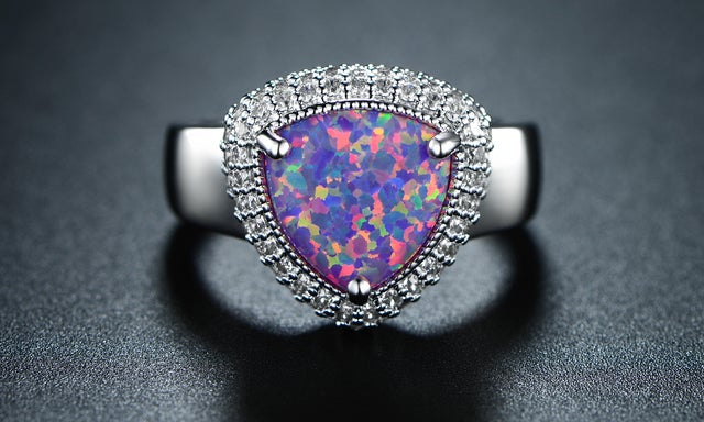 White Gold Filled Trillion-Cut Pink Jelly Genuine Ethiopian Opal Statement Ring