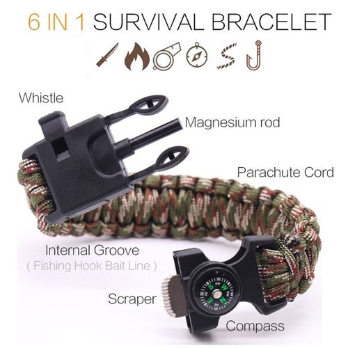 6 In 1 Multifunctional Outdoor Survival Bracelet Fishing Line Hooks Compass Sahara Sailor Survival Wristband Men's Outdoor Tool Camping Equipment Hiking Hunting Temp Accessory Parachute Cord Multifunction Paracord Flint Fire Starter Emergency Whistle
