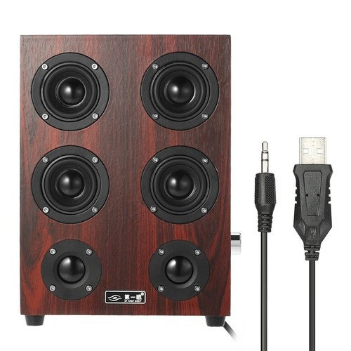 AT FIRST SIGHT 3.5mm Home Speakers Plug and Play USB Powered Wired Laptop Speakers Enhanced Bass Subwoofer Sound Box Red Wooden Surface