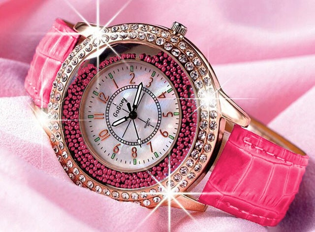 Hot Rose Red Gogoey Brand Luxury Crystal Watches