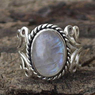 Sterling Silver Women Moonstone Ring Jewerly Gift