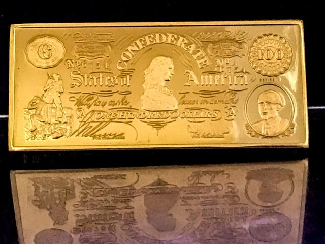1 Troy Ounce .999 Pure 1862 *LUCY* $100 CONFEDERATE CURRENCY Bullion Bar (Copper Mint)