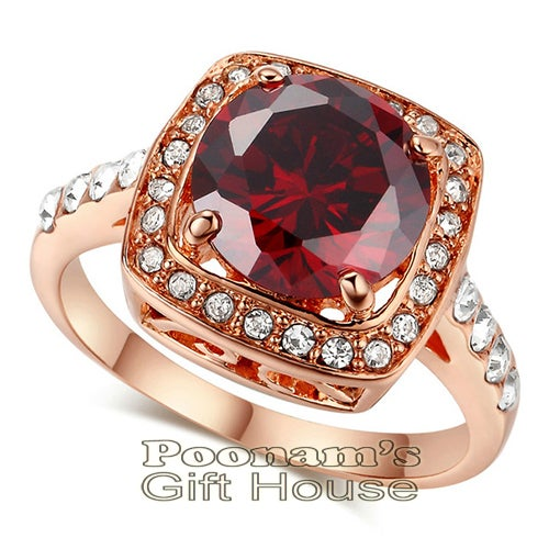 18K Rose Gold Plated Princess Cut Zircon Ring