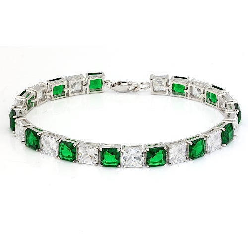 .925 Sterling Silver 30.09CTW Emerald and White Topaz Tennis Bracelet . SSIL8238