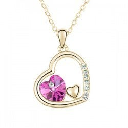18kt Gold Plated Triple Heart Crystal Jewelry Necklace