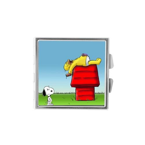 Homer and Snoopy Custom Stainless Steel SQUARE Storage Pill Box Home Decor Case With 4-compartment Great Gift