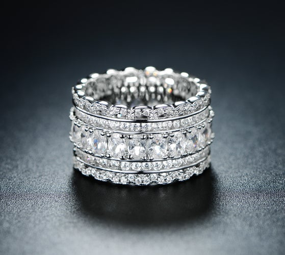 White Gold Plated Cubic Zirconia Wide Band Cocktail Ring