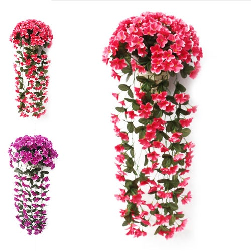 Simulation Violet Wisteria Basket Wall Hanging Wedding Home Decorations