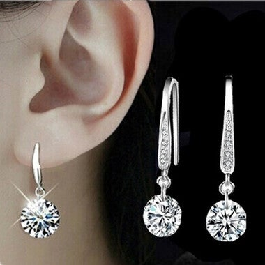 Fashion Jewelry Silver Plated Crystal Stud Earring