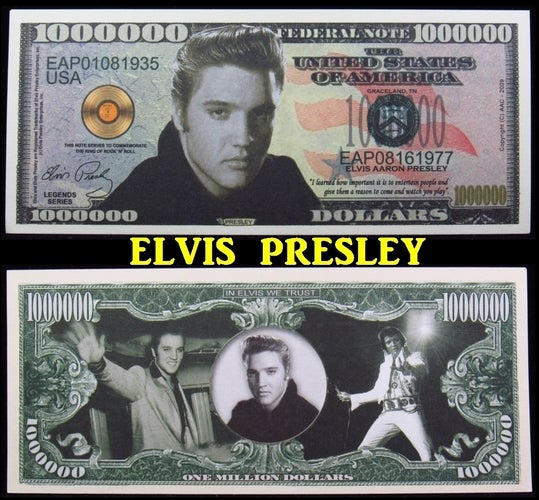 Elvis Presley $1 Million Dollar Collectible Note -  Great gift idea!!!!