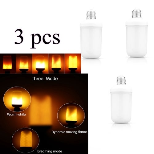 3 pcs Flicker Flame Light Bulbs Decorative LED Simulation Flame Light Fire Flicker Effect Atmosphere