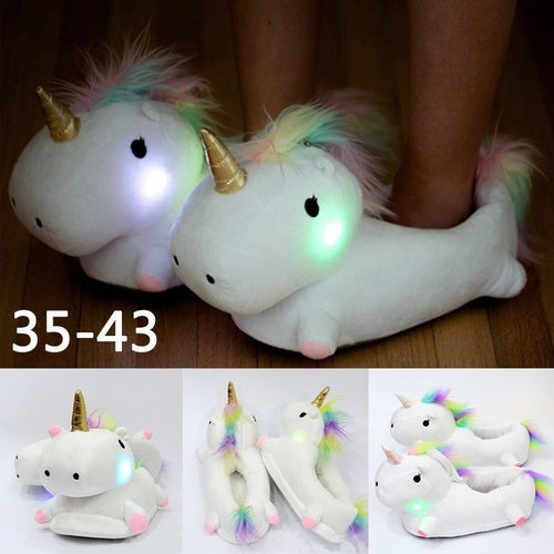 1pair Glowing Unicorn Slipper Creative Household Items Indoor Home Shoes Light In Night Lovely gift for you Girlfriend Boyfriend Family Slippers