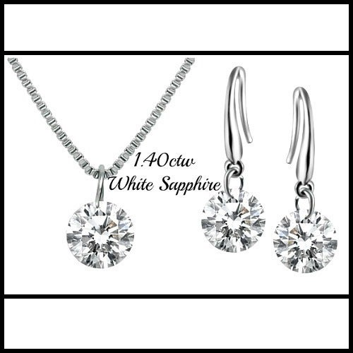 14k White Gold Filled, White Sapphire Set Of Necklace & Earrings Sm797