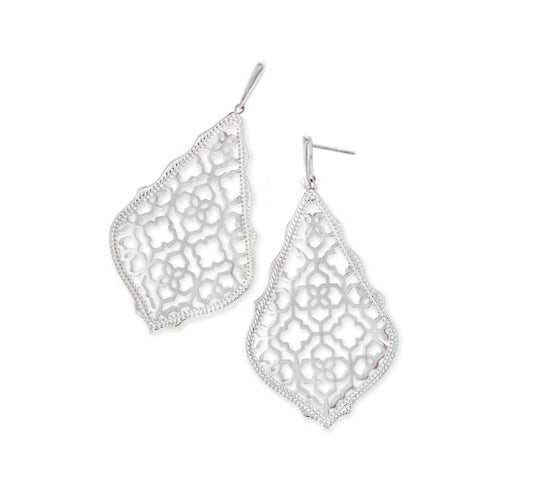 Luxury White Gold Rose Gold Filigree Drop Earrings #E005