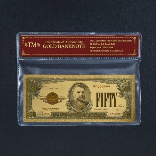 Limited 99.9% 24k Gold Foil Polymer Collectors 1928 US $50 with Certificate of Authenticity