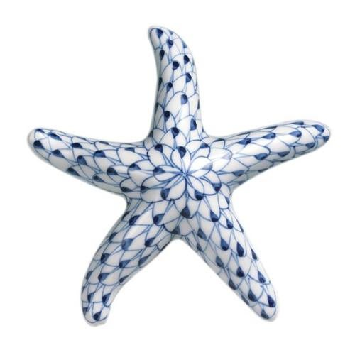 Nautical Blue and White Net Starfish Porcelain Figurine Andrea by Sadek