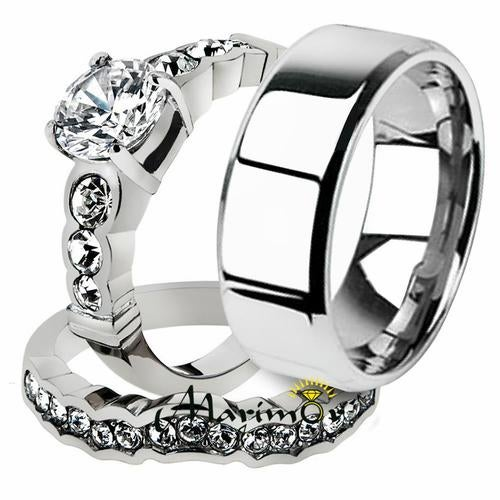 His & Her 3pc Stainless Steel 2.35 Ct Cz Bridal Ring Set & Men Beveled Edge Band